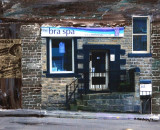 Bra spa Shop in Uppermill merged into a painting
