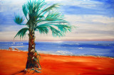 Oil Painting of My Palm Tree on a Beach