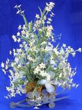 Silk Flowers in the Silver Wheel Barrow