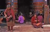 The Faithful gather at the  Prayer Wheels