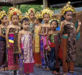 Girls in line to Enter Temple