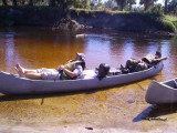 Rick and Brian relaxing on the November 2010 Canoe Trip.jpg