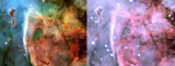 Eta Carina  6 APO on Earth vs 2.4m RC in space