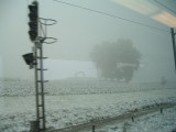 Unexpected snowfall on our way to France