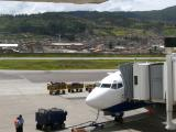 Cusco airport, note proximity of residential area