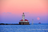 Lake Michigan Chicago Harbor Lighthouse from Navy Pier, sunset, moonrise, Chicago