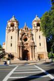 The Casa del Prado Theater, with Churrigueresque ornamentation framing the entrance, Balboa Park, San Diego