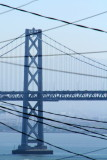 Bay Bridge, cable car and electric wires, San Francisco