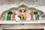 Colorful carvings, Durgiana Temple, Amritsar, Punjab