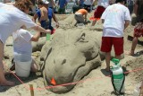 Alligator, sand sculpting competition in East Beach, Galveston, TX