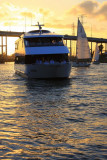 As the sun sets in Kemah, a boat comes by