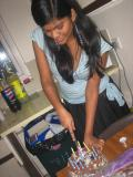 my roommate Vidya ready to slice her Birthday Cake