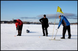When is best time for playing golf?  Always in Rovaniemi....preparing winter green before putting