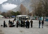 Taking the local bus in Kazbegi