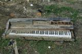 Debris such as this keyboard is everywhere