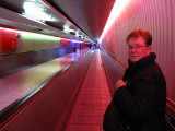 Margaret enjoying the light show on the ramp walkway  .. B0667