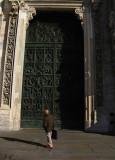 Admiring the main center door .. B1077_6