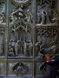 Margaret studying details of the main door .. B1081