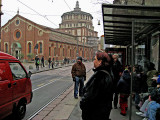 Waiting for the tram across from Santa Maria delle Grazie .. 1121