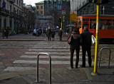 Waiting to cross Via Manzoni in the Montenapoleone area .. 1237