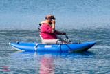 well equipped kayaker in Lake McDonald near Apgar in Glacier - z P1080664