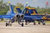 The blue angels taxiing for takeoff.