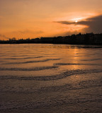 Setting sun at frozen Lake Peblinge