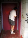 Dad unlocking the door