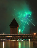 Firework next to Chapell tower, Lucerne