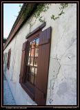Brown window shutters