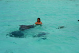 Woman with stingrays