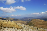 looking back from Green gable; L to R Skiddaw, Blencathra, Helvellyn ridge