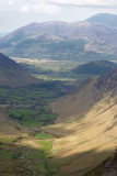Newlands valley from Dale Head tarn; Skiddaw beyond