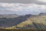 from High Scawdell; Langdales on horizon, approaches to Great Gable in middle ground