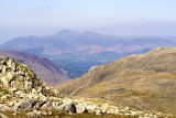 Extra diversion to Esk Pike to get view towards Keswick with Derwent water in front of it and Skiddaw beyond