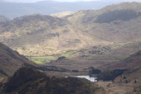 overview from Harrison Stickle - Blea tarn, then moss beyond leading to Castle How and Little Langdale valley