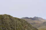 Crinkle Crags from 'prison band' with Swirl How foreground left; shoulder from Wrynose fell to right & Bow fell beyond