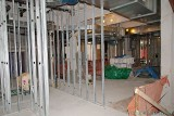 Office walls are being roughed in