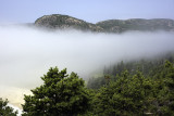 Fog-hidden Beehive from Trail above Sand Beach