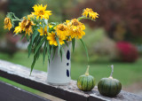 Vase of Little Sunflowers on Rail with Tiny Green Pumpkins