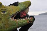 Sedan krokodilen på södra udden. Fredrik kollar andedräkten...
