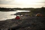Vår lägerplats på holme norr Sommarön.
