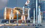 Saturn V Engine Behind Models
