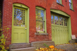 Green Doors and Red Brick