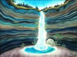 Mountain Waterfall Watercolor