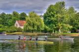 Rowers and coach passing Bisham