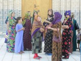 Mary, Turkmenistan - Muslim women waiting to enter mosque