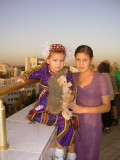 Mother & daughter - viewing platform of monument to Turkmenbashi