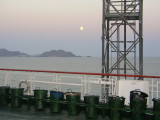 Aboard the freighter crossing the Caspian Sea - moonlight on trash cans