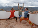 Roof top yoga just days after my arrival
